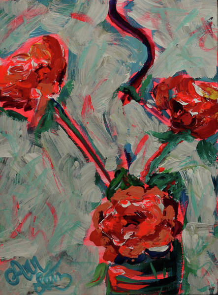 Wall Art - Painting - Abstract Red Flowers by Ann Lutz