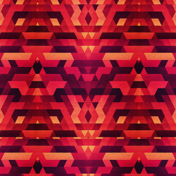 Wall Art - Digital Art - Abstract Red Geometric Triangle Texture Pattern Design Digital Futrure  Hipster  Fashion by Philipp Rietz