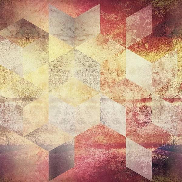 Wall Art - Digital Art - Abstract Red Gold Geometric by Brandi Fitzgerald