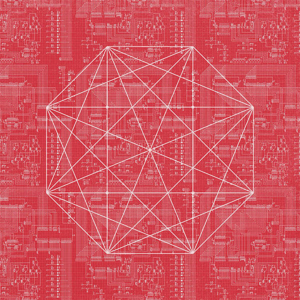 Wall Art - Digital Art - Abstract Red Octagon Line Art by Brandi Fitzgerald