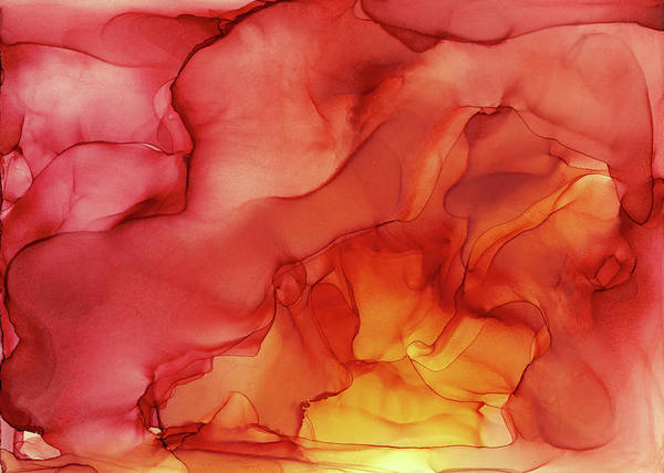 Wall Art - Painting - Abstract Red Yellow Alcohol Ink Painting - Red Sunset by Olga Shvartsur