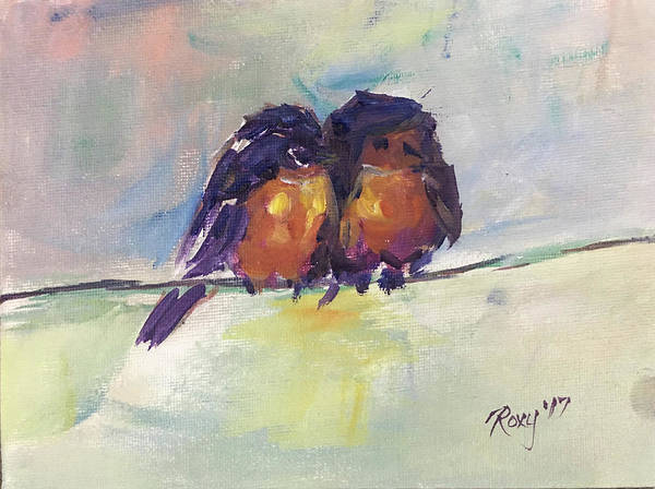 Animal Painting - Abstract Robins On A Wire by Roxy Rich