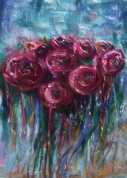 Digital Art - Abstract Roses by OLena Art - Lena Owens