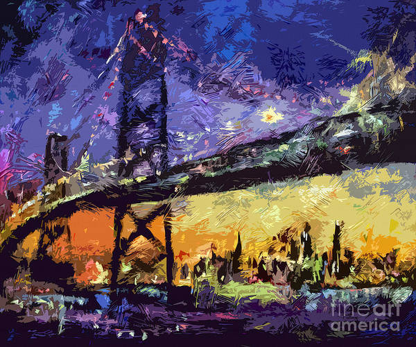 Painting - Abstract San Francisco Oakland Bay Bridge At Night by Ginette Callaway