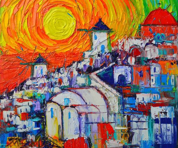 Painting - Abstract Santorini Oia Sunset 4 Impasto Cityscape Palette Knife Oil Painting By Ana Maria Edulescu by Ana Maria Edulescu