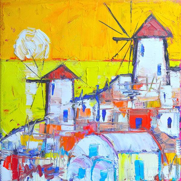 Painting - Abstract Santorini Oia Windmills At Sunset  by Ana Maria Edulescu
