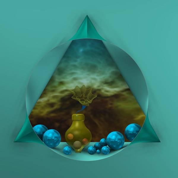 Digital Art - Abstract Scene With Bluish Spheres by Alberto RuiZ