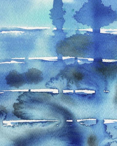 Ultramarine Blue Painting - Abstract Seascape Morning Shadows by Irina Sztukowski