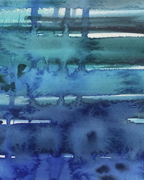 Ultramarine Blue Painting - Abstract Seascape Splash Of Blue by Irina Sztukowski