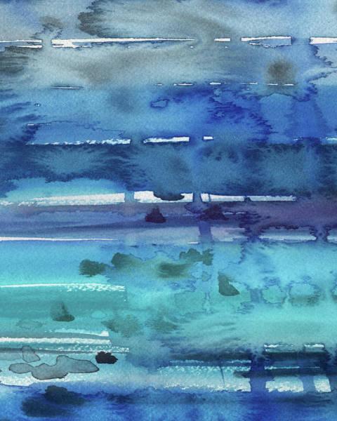 Ultramarine Blue Painting - Abstract Seascape Turquoise Glow by Irina Sztukowski