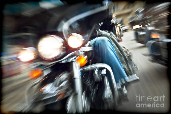Abstract Slow Motion Bikers Riding Motorbikes Art Print by Anna Om