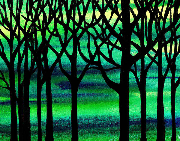 Into The Woods Wall Art - Painting - Abstract Spring Forest by Irina Sztukowski