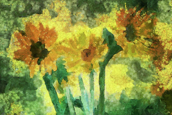 Painting - Abstract Sunflowers by Dan Sproul
