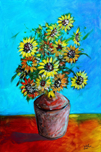 Painting - Abstract Sunflowers W/vase by J Vincent Scarpace