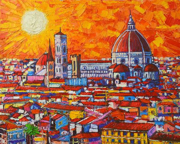 Dome Painting - Abstract Sunset Over Duomo In Florence Italy by Ana Maria Edulescu