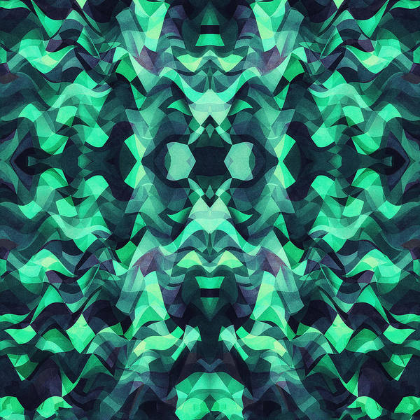 Gestural Digital Art - Abstract Surreal Chaos Theory In Modern Poison Turquoise Green by Philipp Rietz