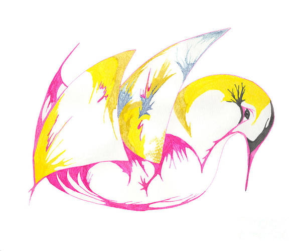 Drawing - Abstract Swan by Mary Mikawoz