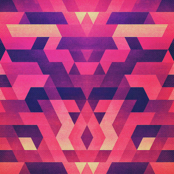 Wall Art - Digital Art - Abstract Symertric Geometric Triangle Texture Pattern Design In Diabolic Magnet Future Red by Philipp Rietz