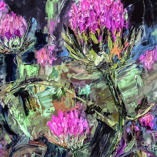 Mixed Media - Abstract Thistles Modern Botanical Art by Ginette Callaway