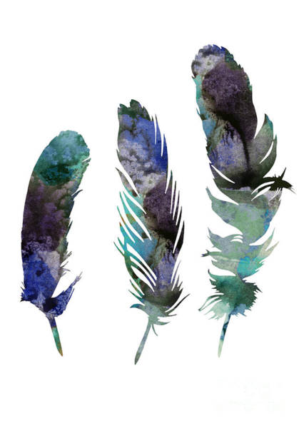Abstract Three Feathers Watercolor Painting Art Print