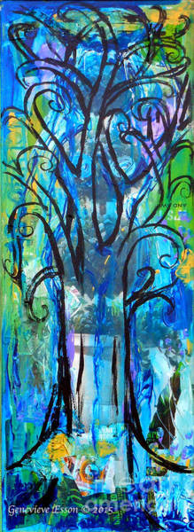 Recycle Painting - Abstract Tree In Spring by Genevieve Esson