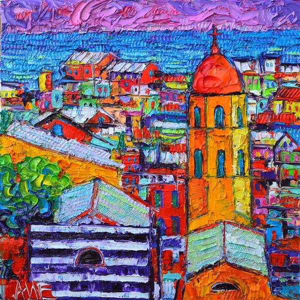 Painting - Abstract Vernazza Impression Cinque Terre Italy Impasto Textural Impressionist Knife Oil Painting by Ana Maria Edulescu