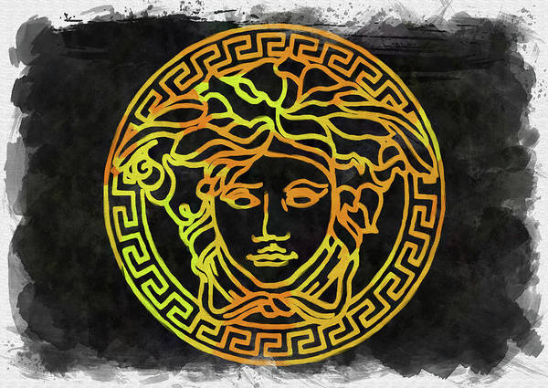 Palette Photograph - Abstract Versace Logo Watercolor by Ricky Barnard