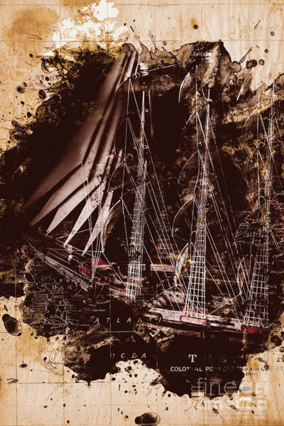 Photograph - Abstract Vintage Ship And Old World Paper Map by Jorgo Photography - Wall Art Gallery