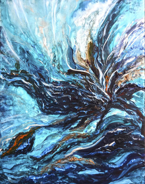 Painting - Abstract Water Dragon by Michelle Pier