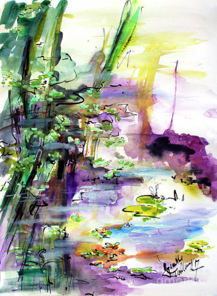 Painting - Abstract Water Reflections Pond Life by Ginette Callaway