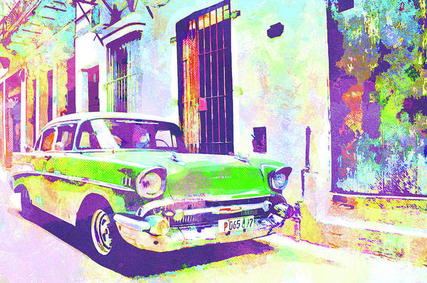 Columns Mixed Media - Abstract Watercolor - Havana Cuba Classic Cadillac I by Chris Andruskiewicz
