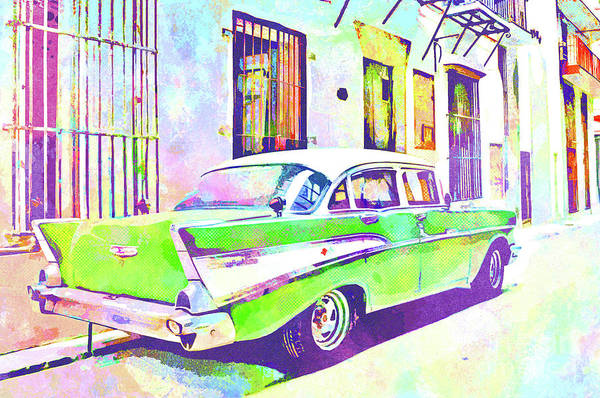 Columns Mixed Media - Abstract Watercolor - Havana Cuba Classic Cadillac IIi by Chris Andruskiewicz
