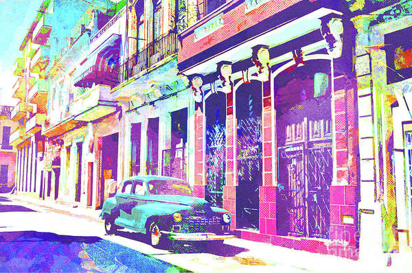 Columns Mixed Media - Abstract Watercolor - Havana Cuba Classic Car I by Chris Andruskiewicz