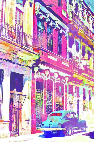 Wall Art - Mixed Media - Abstract Watercolor - Havana Cuba Classic Car IIi by Chris Andruskiewicz