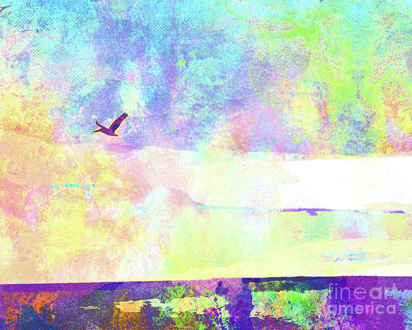 Wall Art - Mixed Media - Abstract Watercolor - Pelican In Flight by Chris Andruskiewicz