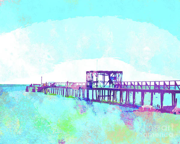 Wall Art - Painting - Abstract Watercolor - Texas Fishing Pier by Chris Andruskiewicz