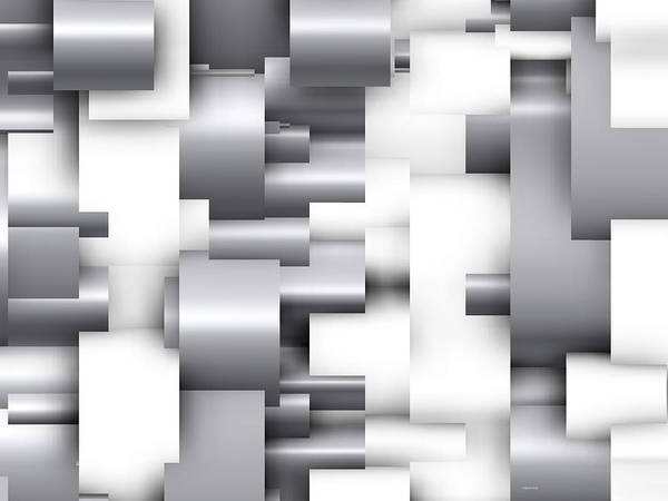 Abstract White And Grey Art Print