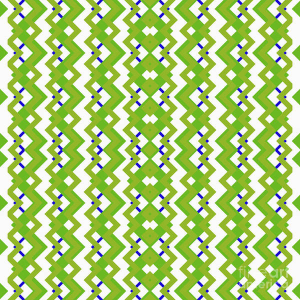 Wall Art - Digital Art - Abstract White, Green And Blue Pattern For Home Decoration by Drawspots Illustrations