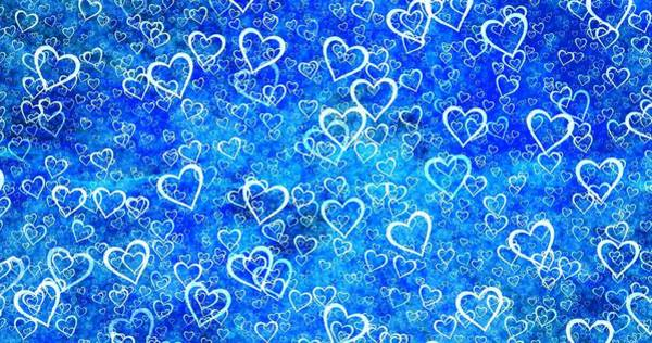 Mixed Media - Abstract White Love Hearts On Blue by Shabby Chic and Vintage Art