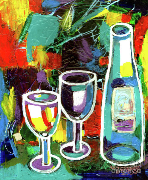 Wall Art - Painting - Abstract Wine Lovers by Genevieve Esson