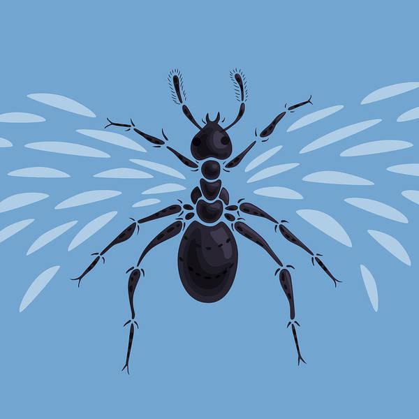 Blue Bug Digital Art - Abstract Winged Ant by Boriana Giormova