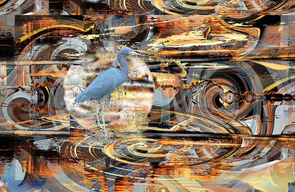 Digital Art - Abstract With A Little Blue Heron by rd Erickson