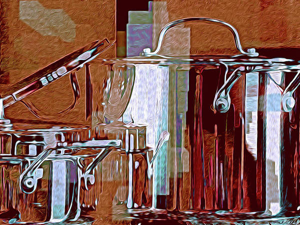 Digital Art - Abstract With Cooking Pots 30 by Lynda Lehmann