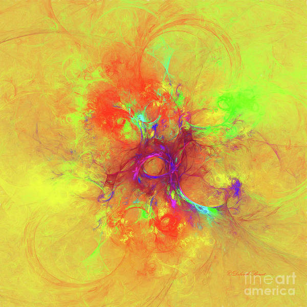 Digital Art - Abstract With Yellow by Deborah Benoit
