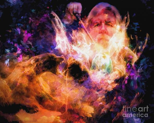 Satanism Digital Art - Abstract Wizard by Frederick Holiday