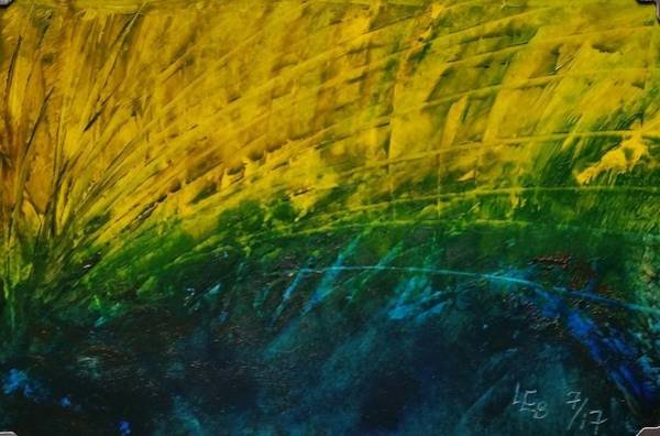 Painting - Abstract Yellow, Green With Dark Blue.   by Lorraine Bradford