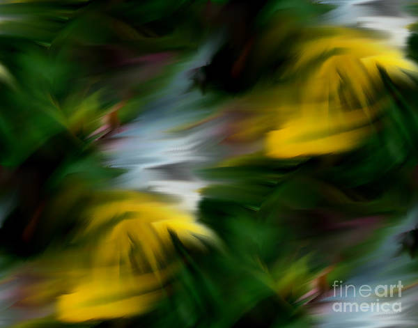 Digital Art - Abstract Yellow White And Green Colors by Smilin Eyes  Treasures