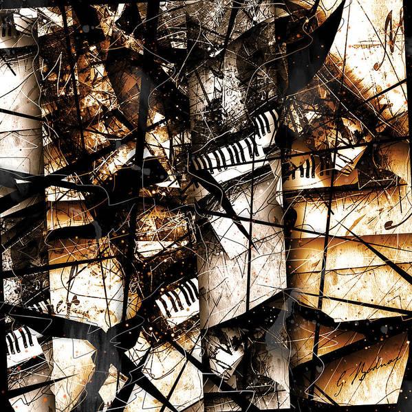 Grand Piano Digital Art - Abstracta 34 Scherzo In Orange by Gary Bodnar