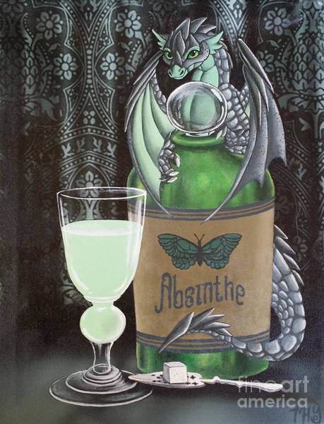 Painting - Absinthe Dragon by Mary Hoy