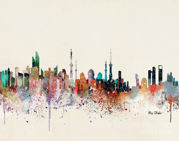 Wall Art - Painting - Abu Dhabi Skyline by Bri Buckley